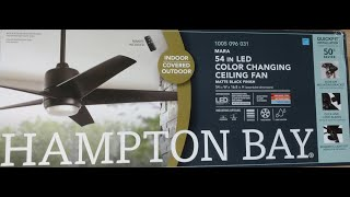 Hampton Bay remote controlled indoor / covered outdoor MARA LED color changing ceiling fan.