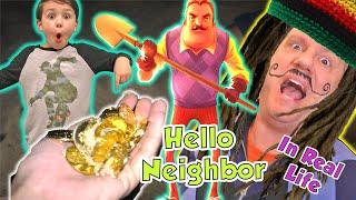 Hello Neighbor in Real Life Toy Scavenger Hunt with Hidden Treasure (Kids Skit)