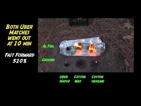 Outdoor Survival:  Alumimun Foil Increases Fire Starter Burn Time; Cotton Balls & Uber Matches