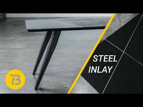 DIY Tapered Steel Legs and Steel Inlay | Dining Table