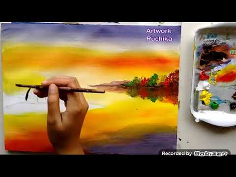 Beautiful Riverside Scenery Painting | Acrylic Painting Tutorial.