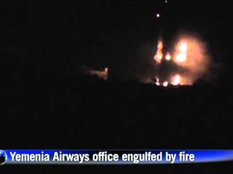 Yemenia Airways office in Sanaa on fire