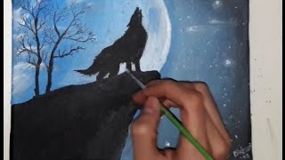 SPEED PAINTING - WOLF HOWLING