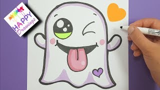 DRAWING + COLORING : How to draw a cute Halloween Ghost EMOJI