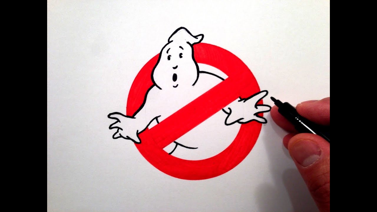 How To Draw The Ghostbusters Logo Youtube