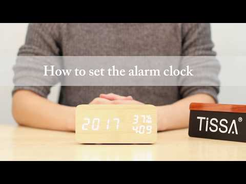 TISSA Wooden Alarm Clock NT34 with temperature and humidity-Alarm Setting