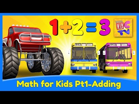 Learn Math for Kids  Adding with Monster Trucks  Brain Candy TV