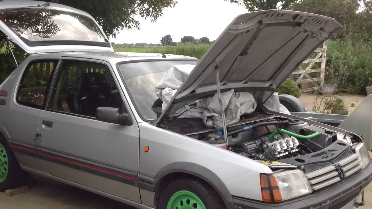 peugeot 205 gti mi16 zx9r carbs first start up after re fitting
