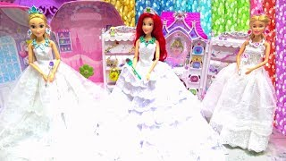 Barbie Rapunzel Wedding Dress Up Wedding Shop Princess  Ariel Makeup Accessories