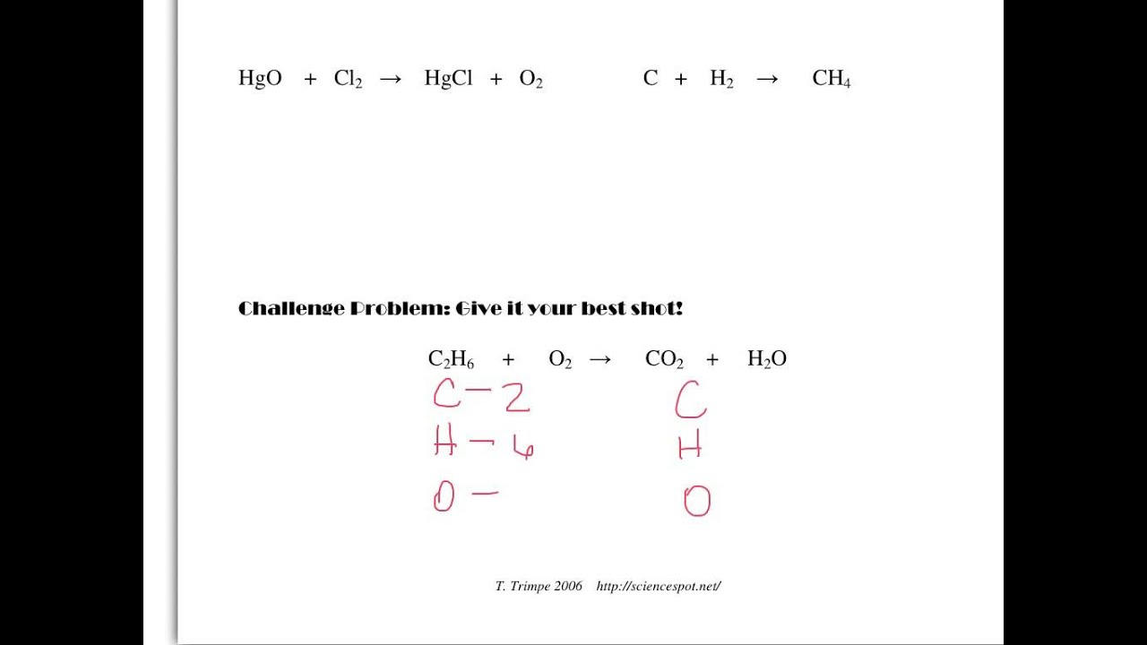 hight resolution of Balancing Equations All 8th grade science classes - YouTube