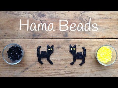 Gatos negros con hama beads para Halloween, ¡el terror de los supersticiosos!