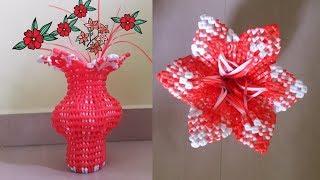 Tamil- plastic wire wheat knot flower vase making tutorial[ beginners]