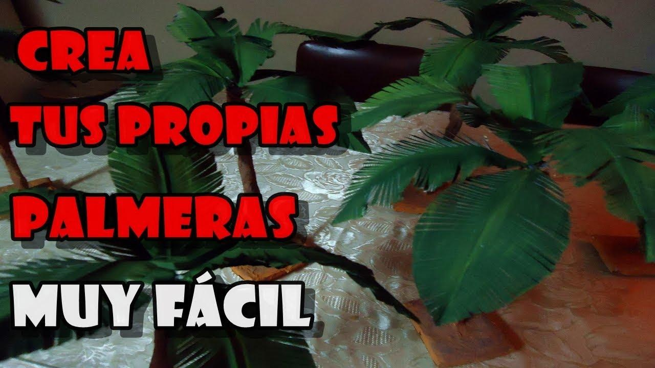 COMO HACER PALMERAS PASO A PASO, MUY FACILARTE EN PAPEL   YouTube