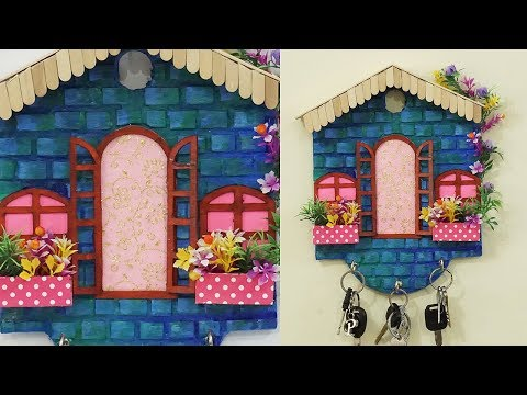 DIY Key Holder House Shaped Wall Hanging | Handmade Crafts | Easy Best out of Waste