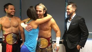 Bayley wants a hug from The Hardy Boyz in Stuttgart, Germany