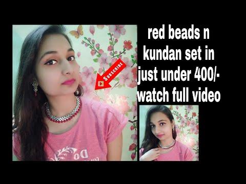 Simple red alloy and kundan set under 400 review |FLIPKART shining diva brass Jewel set review