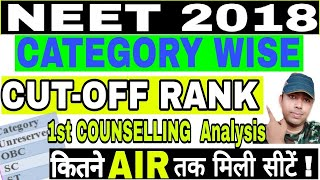 Category Wise CUT OFF Ranks Neet2018 COUNSELLING,NEET 2018 counselling cut off Rank Result