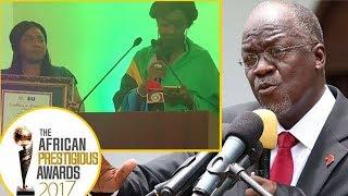 """Video: Monalisa akipokea Tuzo ya Rais Magufuli ya """"Uongozi Bora"""" aliyoshinda Ghana kwa niaba yake."""