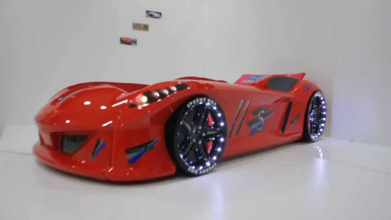 hot red jaguar race car bed with led lights usa youtube. Black Bedroom Furniture Sets. Home Design Ideas