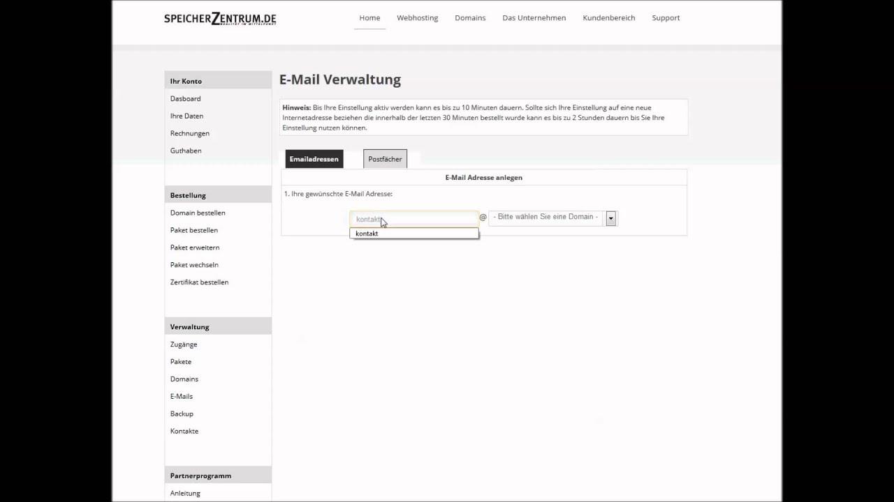 E-Mail Adresse bei Speicherzentrum einrichten - YouTube