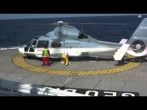 Helicopter landing on board a seismic vessel