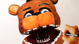 How to draw Freddy Fazbear jumpscare from Five Nights at Freddy s FNaF drawing lesson