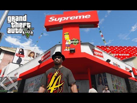 SUPREME/LOUIS VUITTON/BAPE/NIKE STORES!!! GTA 5 MODS (REAL LIFE MODS)