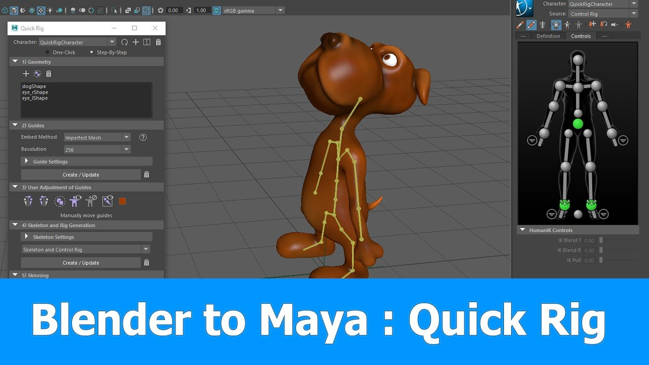 Blender to Maya Rigging: Quick Rig