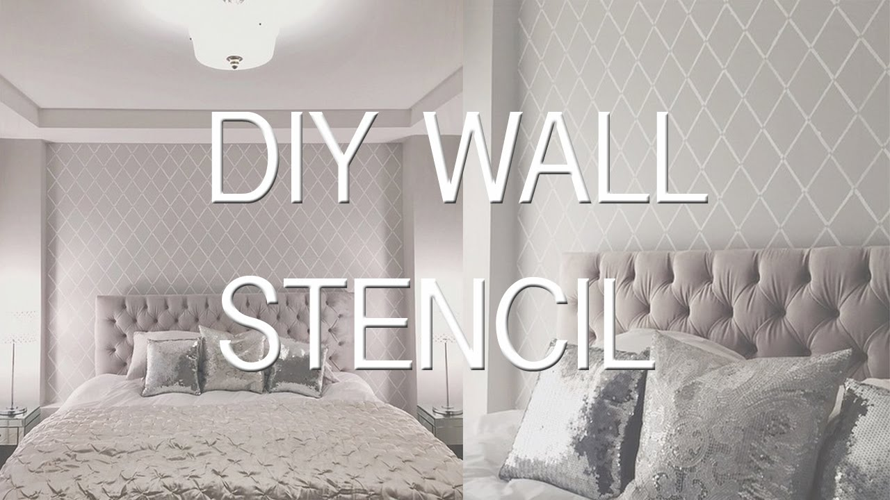 How to stencil paint a wall diy wallpaper effect youtube for Paint templates for walls