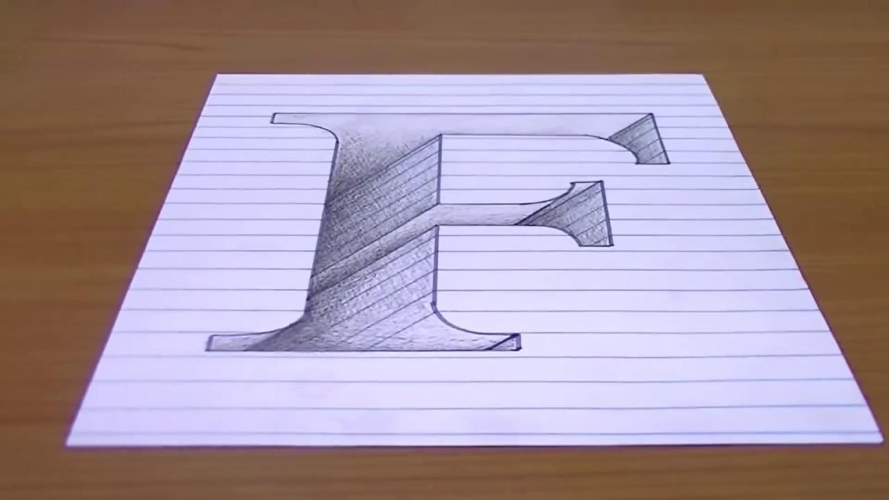 رسم حرف F ثري دي محفور على ورقة خدع بصرية ثلاثية الابعاد 3d Youtube