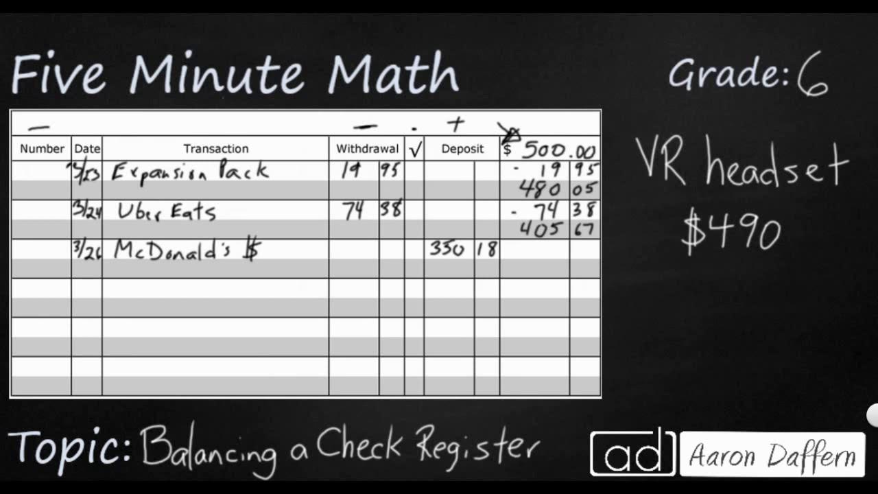 6th Grade Math - Personal Financial Literacy Balancing a Check Register