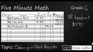 6th Grade Math Personal Financial Literacy - Balancing a Check Register