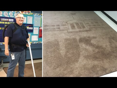 School Janitor Vacuums Art Into Carpet To The Delight Of The Students