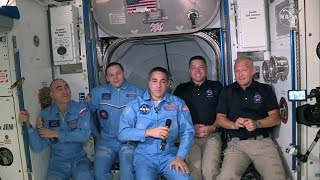 video: Watch live: Nasa astronauts hold news conference on ISS after SpaceX launch