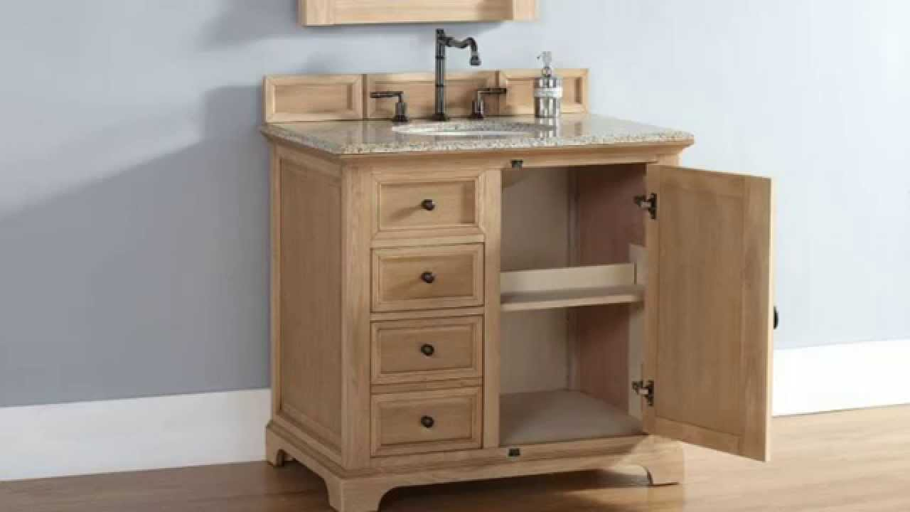 New providence 36 james martin bathroom vanities in solid for Bathroom cabinets natural wood