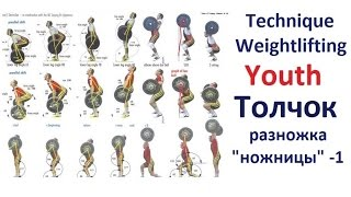 "Technique Weightlifting-Zakharov: Толчок-Разножка ""ножницы""-1. Jerk-Рlacement of feet."