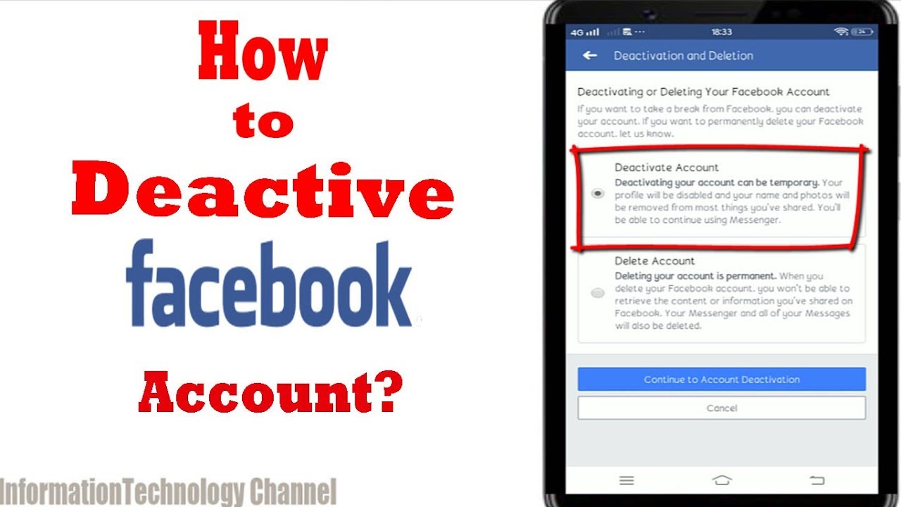 How to Deactivate Facebook Account on your Phone  Android or Iphone