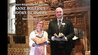 Claire Ridgway holds Anne Boleyn's books of hours at Hever Castle