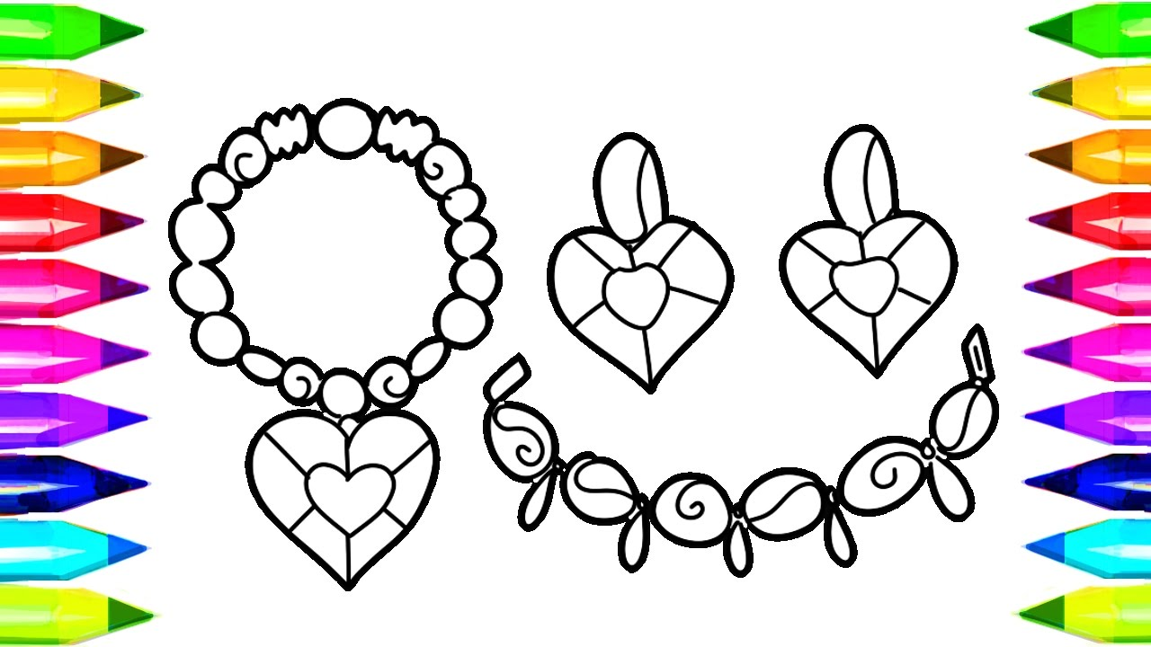 Colouring Pages Jewellery : Jewelry COLORING PAGES FOR KIDS How to Draw Necklace, Earrings, Jewellery Coloring Book for ...