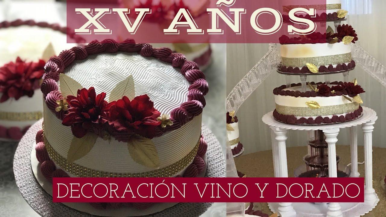 Decoración De Pastel Xv Años Color Vino Y Dorado