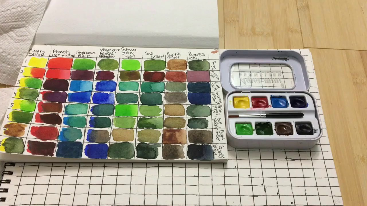 Making  watercolor color mixing chart and completed youtube also rh