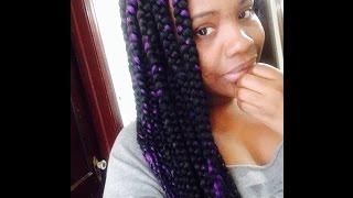110  my jumbo box braids with purple highlight protective style