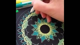 How to draw: mandala dark/light green and yellow