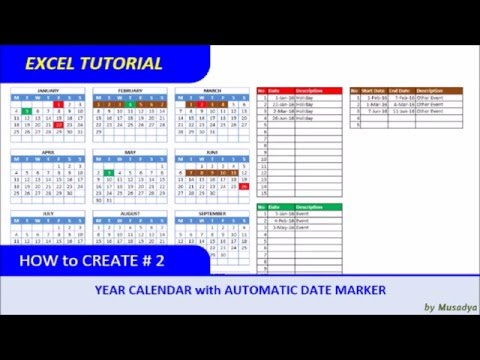 How to Create Excel Calendar for Specific Year with Automati
