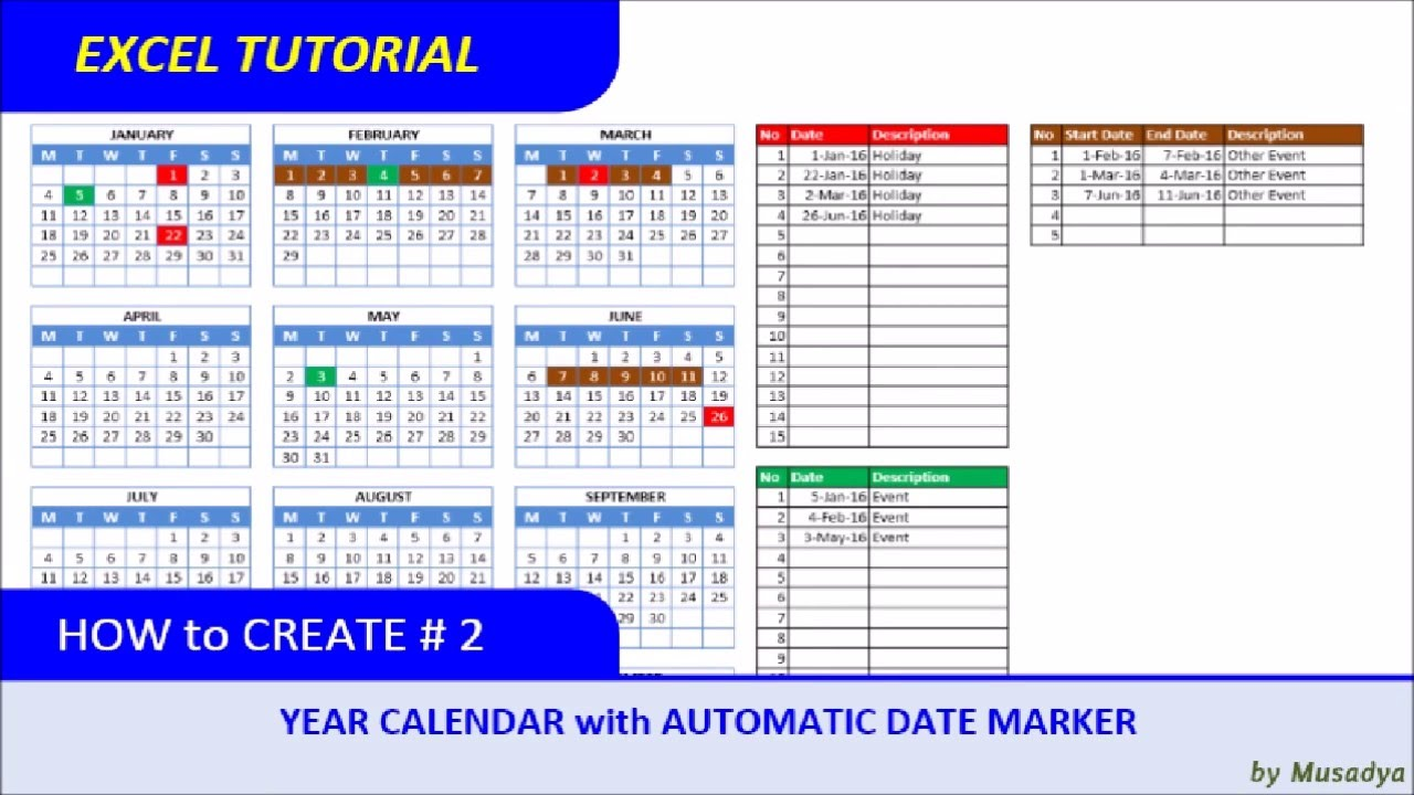 how to create excel calendar for specific year with automatic date marker youtube. Black Bedroom Furniture Sets. Home Design Ideas