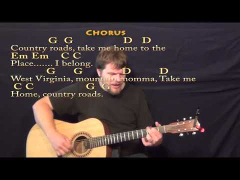 Country Roads (John Denver) Fingerstyle Guitar Cover Lesson in G with Chords/Lyrics