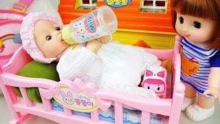 Baby doll bed sleep playing with Frozen Anna Pororo toys 콩순이 뽀로로 와 아기침대 장난감 놀이