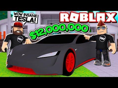 MY BRAND NEW $12,000,000 TESLA in ROBLOX VEHICLE SIMULATOR | DRAG RACES | CAR STUNTS
