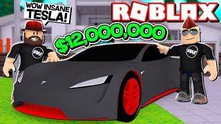 MY BRAND NEUE 12.000.000 US-Dollar TESLA in ROBLOX VEHICLE SIMULATOR | DRAG RACES | CAR STUNTS