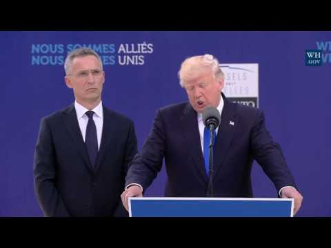 FULL: President Donald Trump Speech NATO Unveiling Of The Article 5 Berlin Wall Memorials 2017 Trump